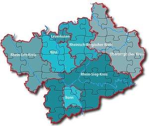 Karte der DGB-Region Köln-Bonn