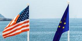 Fahnen USA und EU