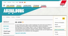 Dr. Azubi auf der Web-Seite der DGB-Jugend