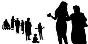 Silhouetten von Frauen in unterschiedlichen Lebensphasen