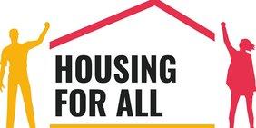 Housing for all Logo mit Skizze von Mann, Frau und Dach in Rot und Gelb