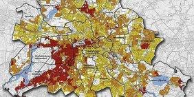 Grafik: Wohnlagen-Karte von Berlin. Überwiegend einfache (gelb), mittlere (orange) und gute Wohlagen (rot). Wohnlagen ohne betroffenen Wohnraum sind weiß.