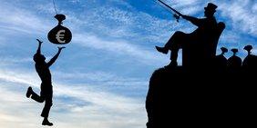 """Schwarzer """"Scherenschnitt"""" vor blauem Himmel mit Wolken: Eine Person springt nach einem Geldsack mit Euro-Zeichen und fällt dabei in Abgrund; Geldsack hängt an der Angel eines höher sitzenden """"Reichen"""" mit Zylinderhut"""